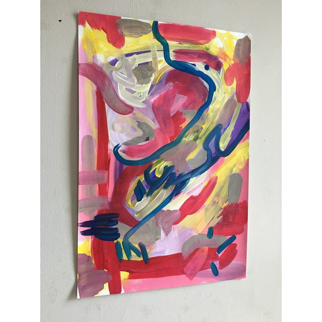Abstract Jessalin Beutler Original Abstract Painting on Paper For Sale - Image 3 of 6