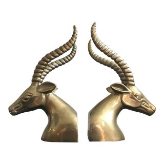 Brass Gazelle Bookends For Sale
