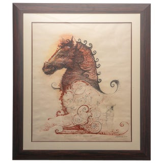 """The Monument is Falling"" Horse Pencil & Watercolor Painting by Cuban Artist Ernesto Capdevila For Sale"
