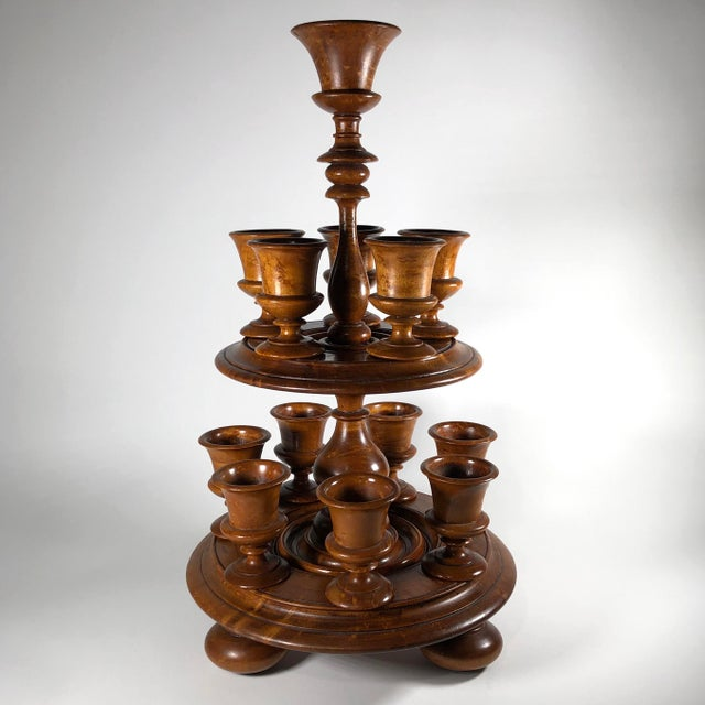 Wood 19th-Century English Treenware Egg Cruet With Cups - 13 Piece Set For Sale - Image 7 of 7