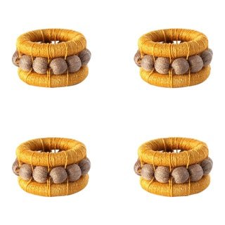 Berry Napkin Rings Amber & Flax - Set of 4 For Sale