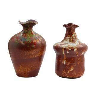 Lot of Two Contemporary Artist Handmade Freelance Ceramic Odd Shape Vase For Sale