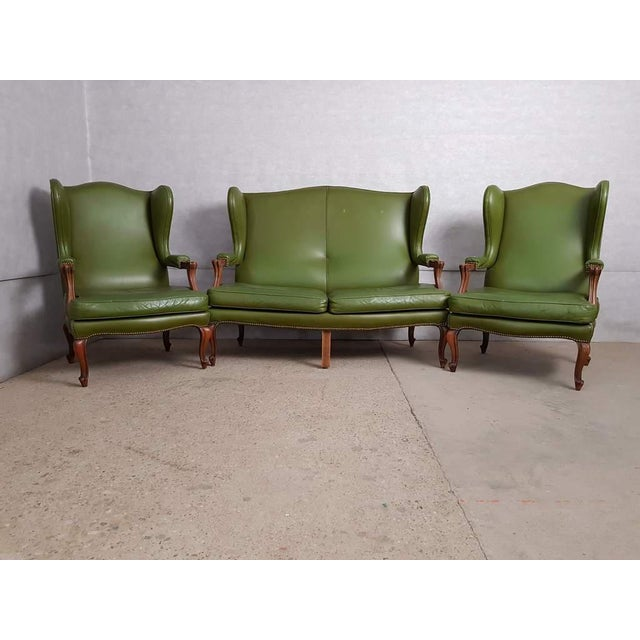 Vintage Mid 20th. C. Queen Anne Style Wing Sofa and 2 Wing Armchairs Suite For Sale - Image 13 of 13