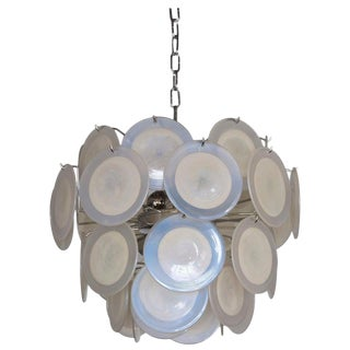 White Iridescent Murano Glass Disc Chandelier Attributed to Vistosi For Sale