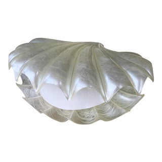 Large Shell Lamp Pearl Resin Brass by Maison Rougier. France, 1970s For Sale