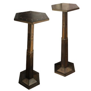 1980s Gothic Parquetry Candle Stands - a Pair For Sale