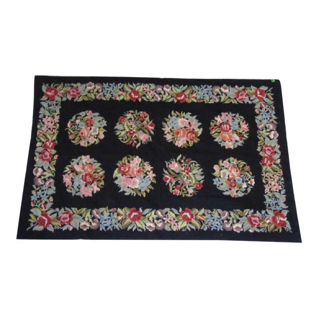 Floral Aubusson French Style Rug - 3′8″ × 5′8″ - Image 1 of 4