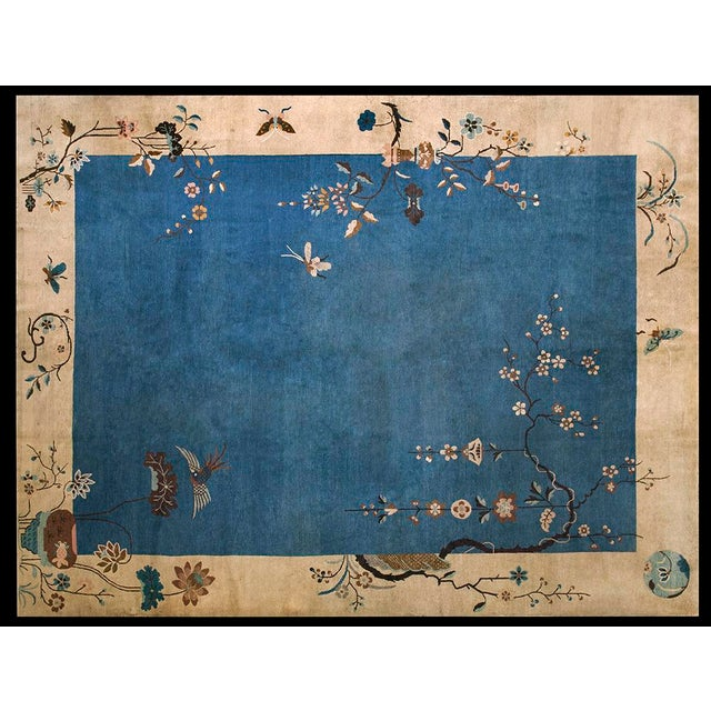 "1920s Chinese Art Deco Rug - 9'x11'10"" For Sale - Image 9 of 9"