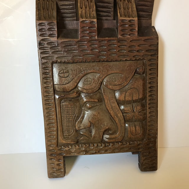 Wood Antique Hand Carved Wooden Folding Stool For Sale - Image 7 of 9