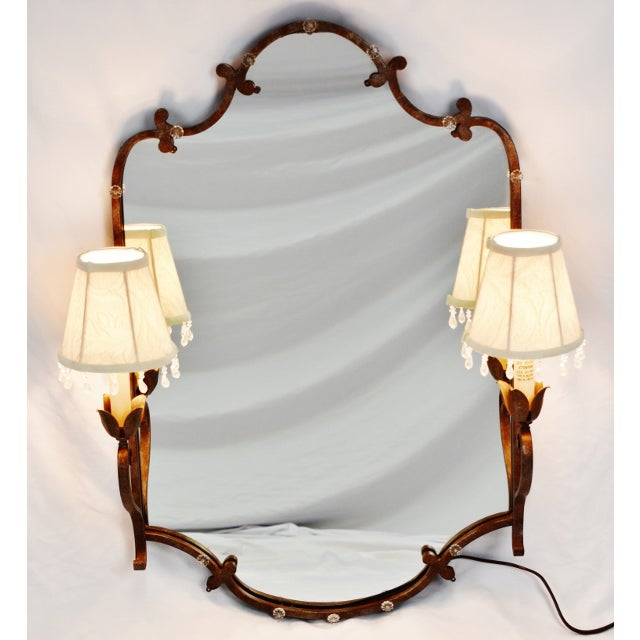 Vintage Tole Style Lighted Wall Mirror For Sale - Image 13 of 13
