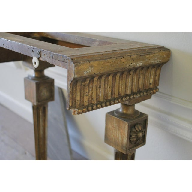 Giltwood 20th Century Louis XVI Style Petite Giltwood Wall Console Table With Stone Top For Sale - Image 7 of 10