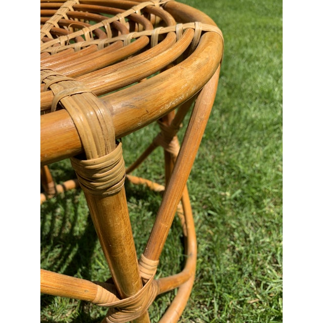 Brown Vintage Boho Round Rattan & Bamboo Side Table / Plant Stand For Sale - Image 8 of 9