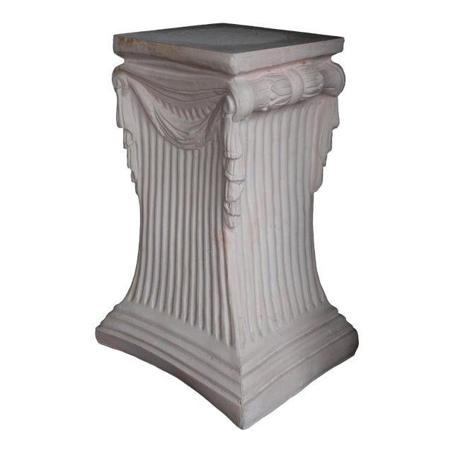 Pink Plaster Pedestal / Plant Stand / Side Table For Sale