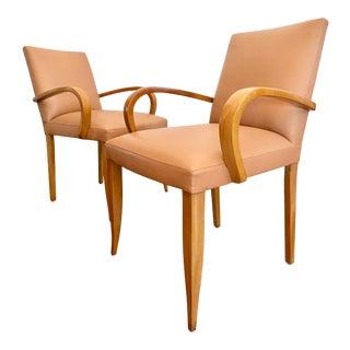 Dakota Jackson Leather Curved Maple Armchairs, a Pair For Sale