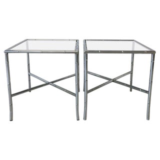 1970d Chrome Faux Bamboo Side Tables With Smoked Glass, Pair