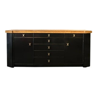 1950s Paul Frankl Ebonized Cork Top Credenza For Sale
