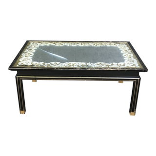 Art Nouveau Ebonized and Gold Gilted Glass Top Coffee Table by Baker Furniture For Sale