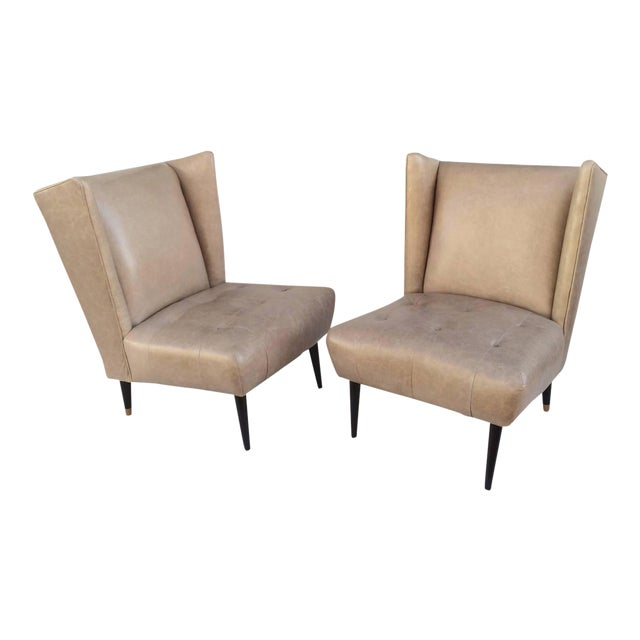1950s Leather Club Chairs - A Pair For Sale