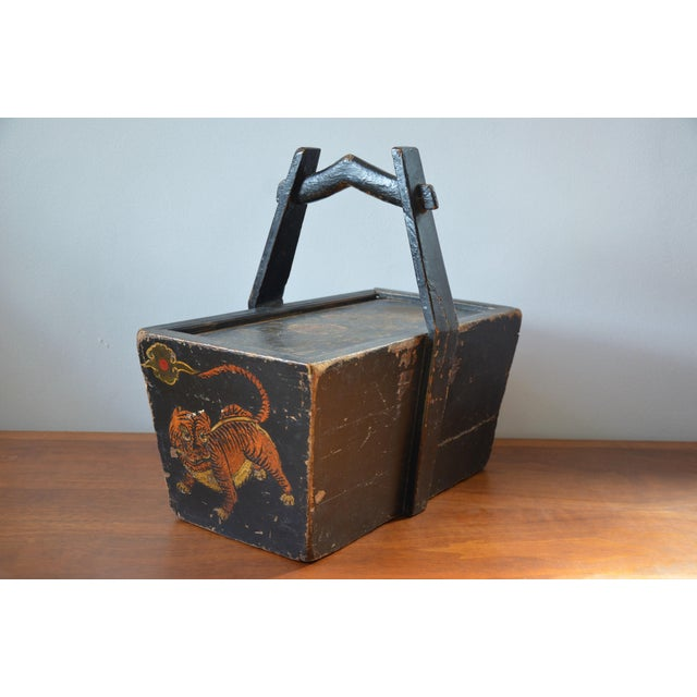 Antique Hand Painted Chinese Wooden Rice Box With Tiger & Dragon For Sale - Image 13 of 13