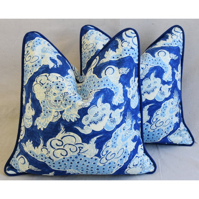 "Blue & White Chinoiserie Dragon Feather/Down Pillows 22"" Square - Pair For Sale - Image 12 of 12"