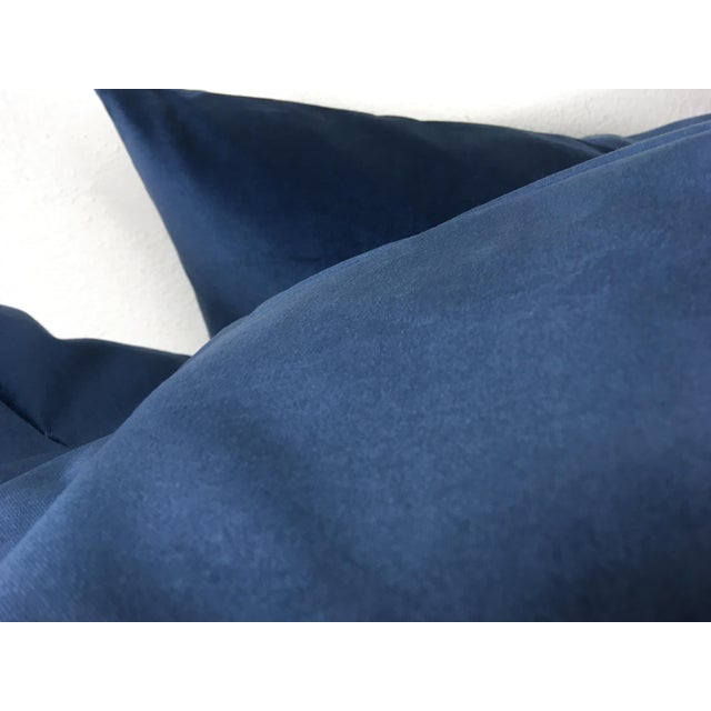 This is a pair of plush French blue velvet Pillows by Ralph Lauren. Pillows are newly made and come with Feather and down...