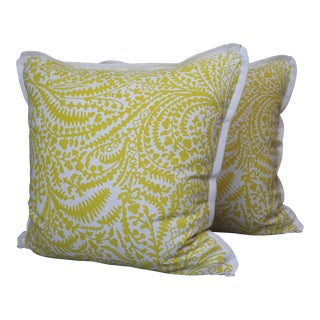 Raoul Textiles Throw Pillows in Arcadia Linen Print - a Pair For Sale