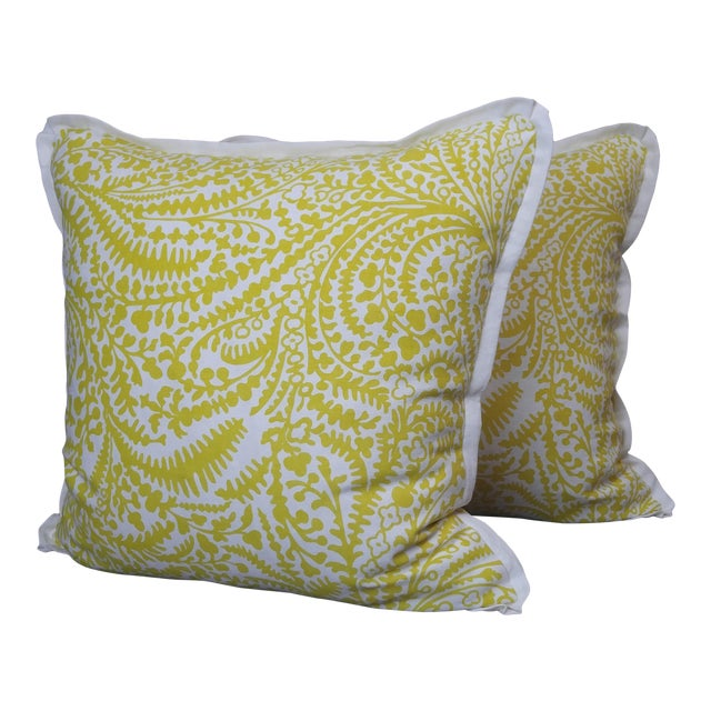 Raoul Textiles Throw Pillows in Arcadia Linen Print - a Pair For Sale