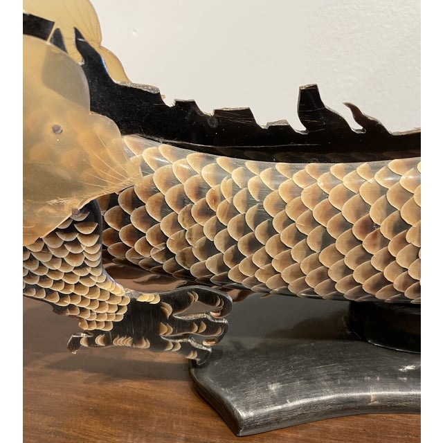 Antique Hand Carved Dragon on Horn For Sale In Los Angeles - Image 6 of 8