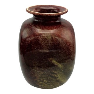 Vintage Asymmetrical Chinese Oxblood Flambe Studio Pottery Vessel - Signed With Seal For Sale