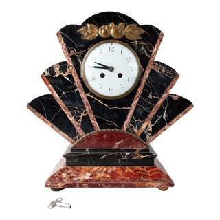 Art Deco Marble and Gilt Bronze Mantel Clock, Circa 1930 For Sale