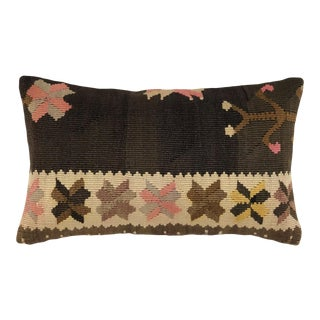 "Brown Boho Kilim Lumbar Pillow | 12"" X 20"" For Sale"