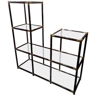 Billy Haines Style Mid-Century Faux Bamboo and Glass Etagere For Sale