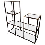 Image of Mid-Century Faux Bamboo and Glass Etagere For Sale
