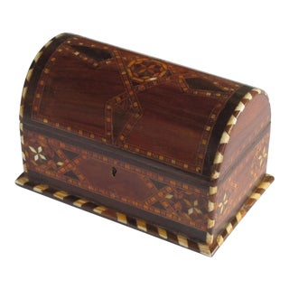 A Well-Crafted and Richly-Patinated Syrian Inlaid Trinket Box With Domed Lid For Sale