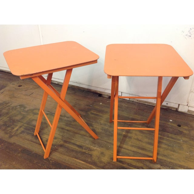 Orange Mid Century Collapsible Side Tables - Pair - Image 11 of 11