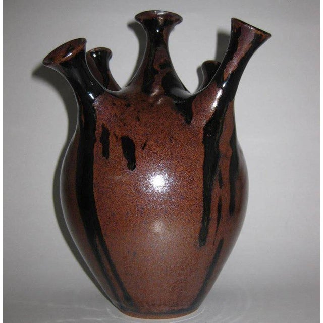 Ceramic Studio Pottery Five-Chimney Weed Pot Vase With Drip Glaze For Sale - Image 7 of 8