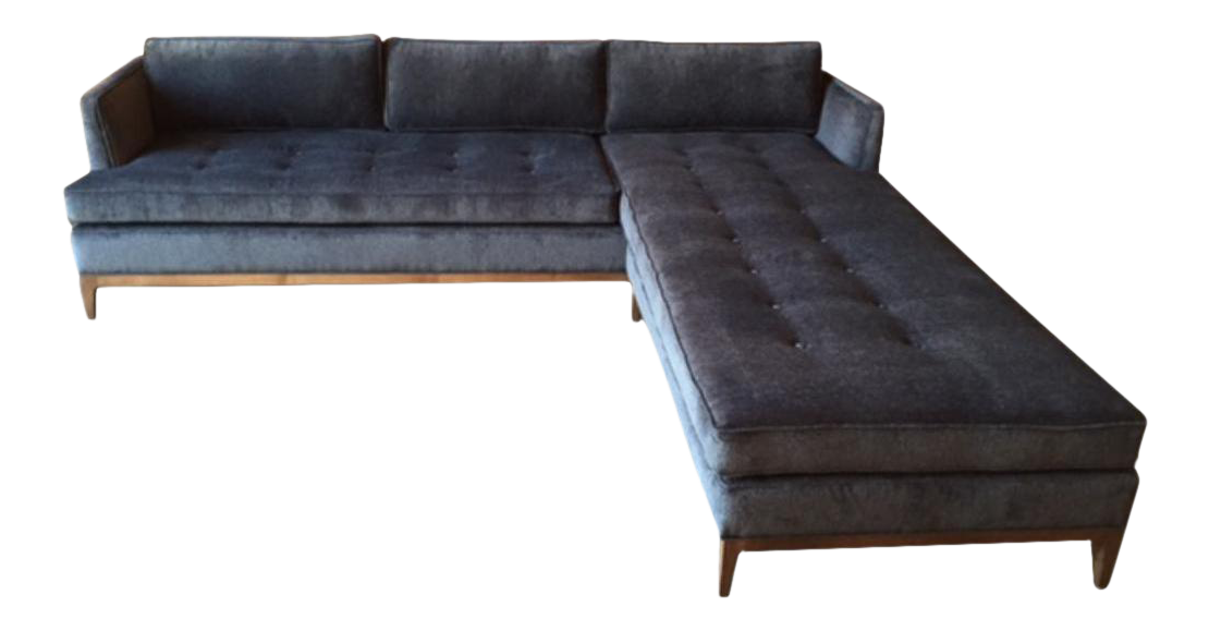 Mid Century Style Custom Reversible Sofa Chaise Lounge For Sale