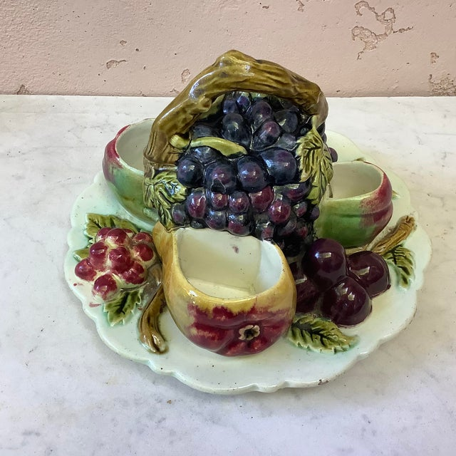 Antique French Majolica Fruits Trompe l'Oeil Server Circa 1880 For Sale - Image 4 of 11