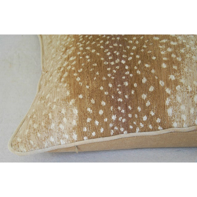 """Tan Large Speckled Fawn Spot Velvet Feather/Down Pillow 26"""" X 18"""" For Sale - Image 8 of 9"""