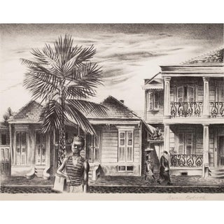 1939 New Orleans Street by Aaron Bohrod, Original Period Lithograph For Sale