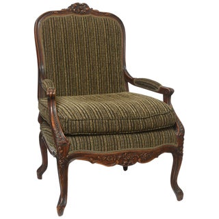 Regence Style Hand Carved Fauteuil For Sale