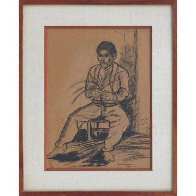 Orange Charcoal on Paper by American Artist Marion Greenwood, Signed ,1933, Mexico For Sale - Image 8 of 8