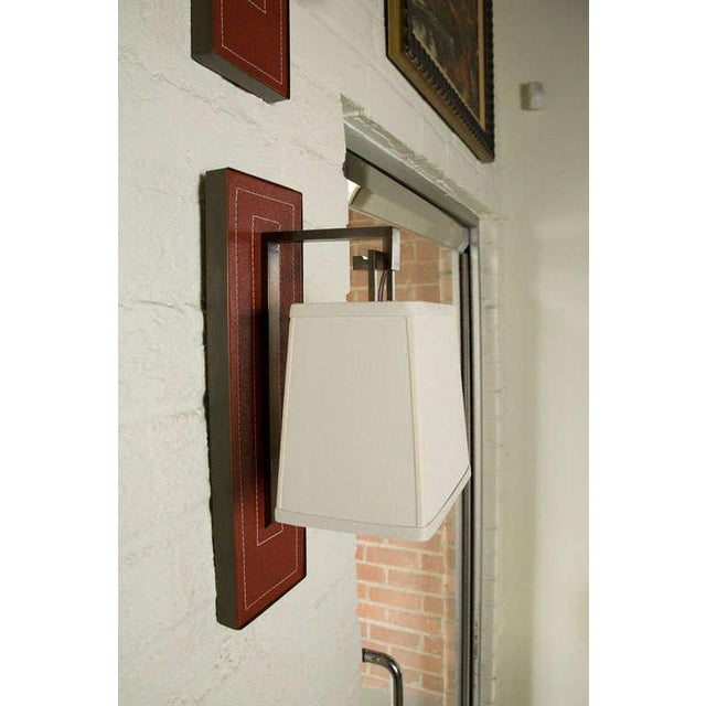 Paul Marra Leather Back Sconce with Tapered Linen Shade - Image 4 of 6
