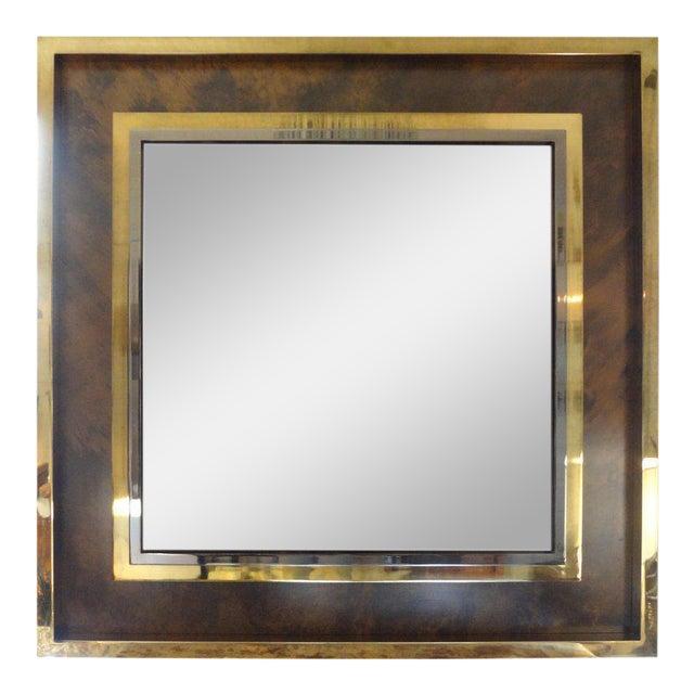 Italian Romeo Rega Style Mid-Century Modern Square Mirror For Sale