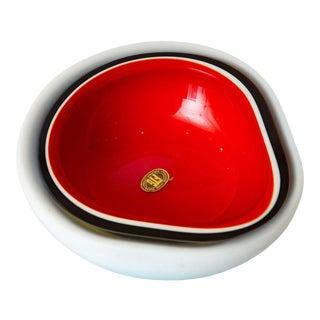 Italian Murano Cased Flavio Poli Red, Black and White Glass Bowl Vintage For Sale