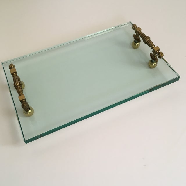 Late 20th Century Hollywood Regency Glass and Brass Tray For Sale - Image 10 of 10