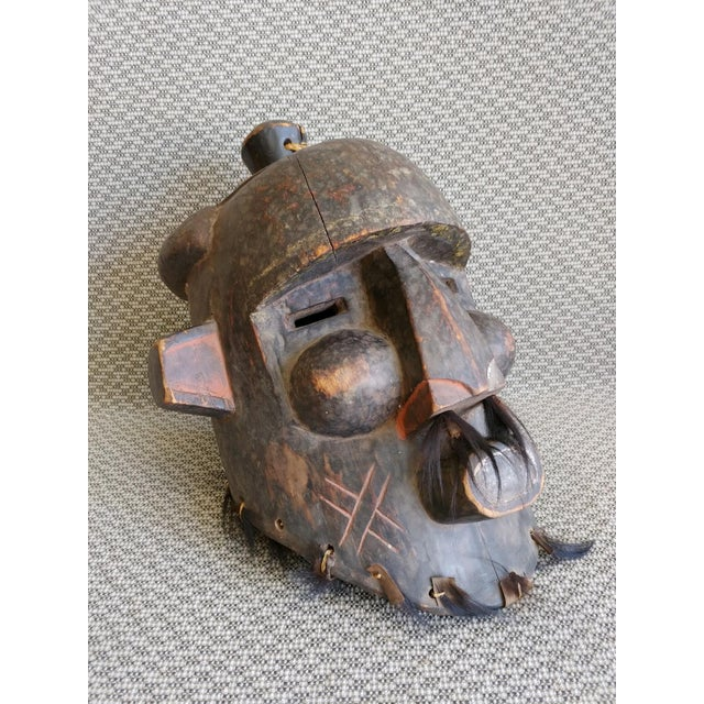 Early 20th Century African Carved Wood Full Head Mask For Sale - Image 11 of 11