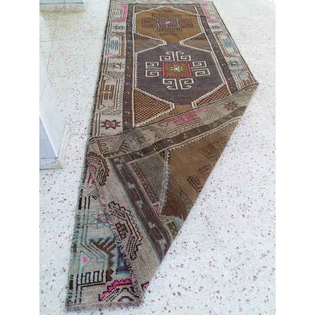 Boho Chic Antique Kars Caucasian Rug Runner - 3′11″ × 15′4″ For Sale - Image 3 of 4