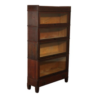 Mission Oak Antique Barrister 4 Stack Bookcase with Drawer For Sale
