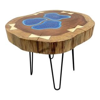 Robert Baker Live Edge Redwood + Epoxy Side Table For Sale